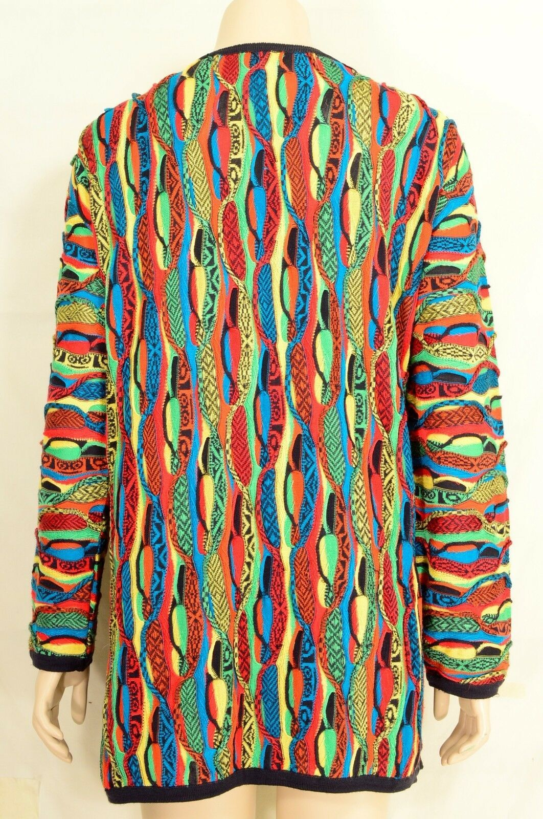 COOGI sweater SZ M 100% silk cardigan brilliant colors long sleeve vintage.