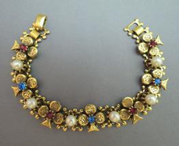 VTG Clover Link Bracelet Gold Plate Antiqued Unmark Designer Red Blue Rh... - $39.59