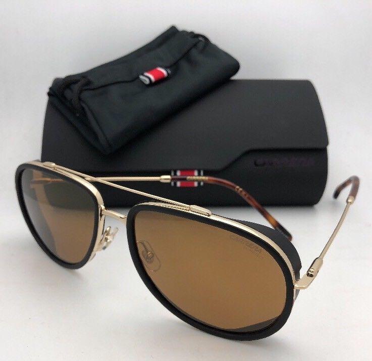 6371f331201cf CARRERA Sunglasses 166 S J5GK1 59-18 Black Gold Aviator w ...