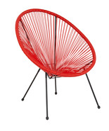 Valencia Oval Comfort Series Take Ten Red Rattan Lounge Chair - $125.41