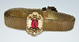 VTG W.E.W. Co Gold Filled Metal Mesh Red Rhinestone Slide Bracelet - $217.80