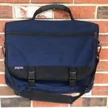 RARE JANSPORT MADE IN USA MESSENGER BAG - NAVY BLUE CANVAS - $21.49