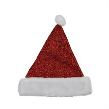 "Northlight 14"" Sparkling Metallic Red Christmas Santa Hat - Medium - $10.63"