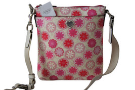 NWT COACH F51105 Pink/White Floral Flower Print PVC Crossbody Swingpack Bag - $99.99
