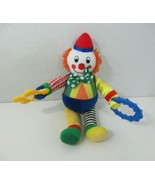 Discovery toys Plush Sensory Sam clown doll rattle teeter rainbow stripes - $19.79