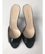 NEW PRADA slides shoes 35.5 sandals black patent leather heels designer ... - $271.59