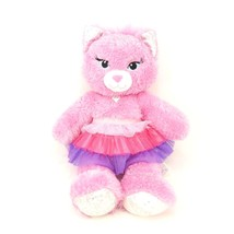 Build A Bear Pink Purrincess Cat Kitten Silver Sparkle Tutu Plush Stuffe... - $11.30