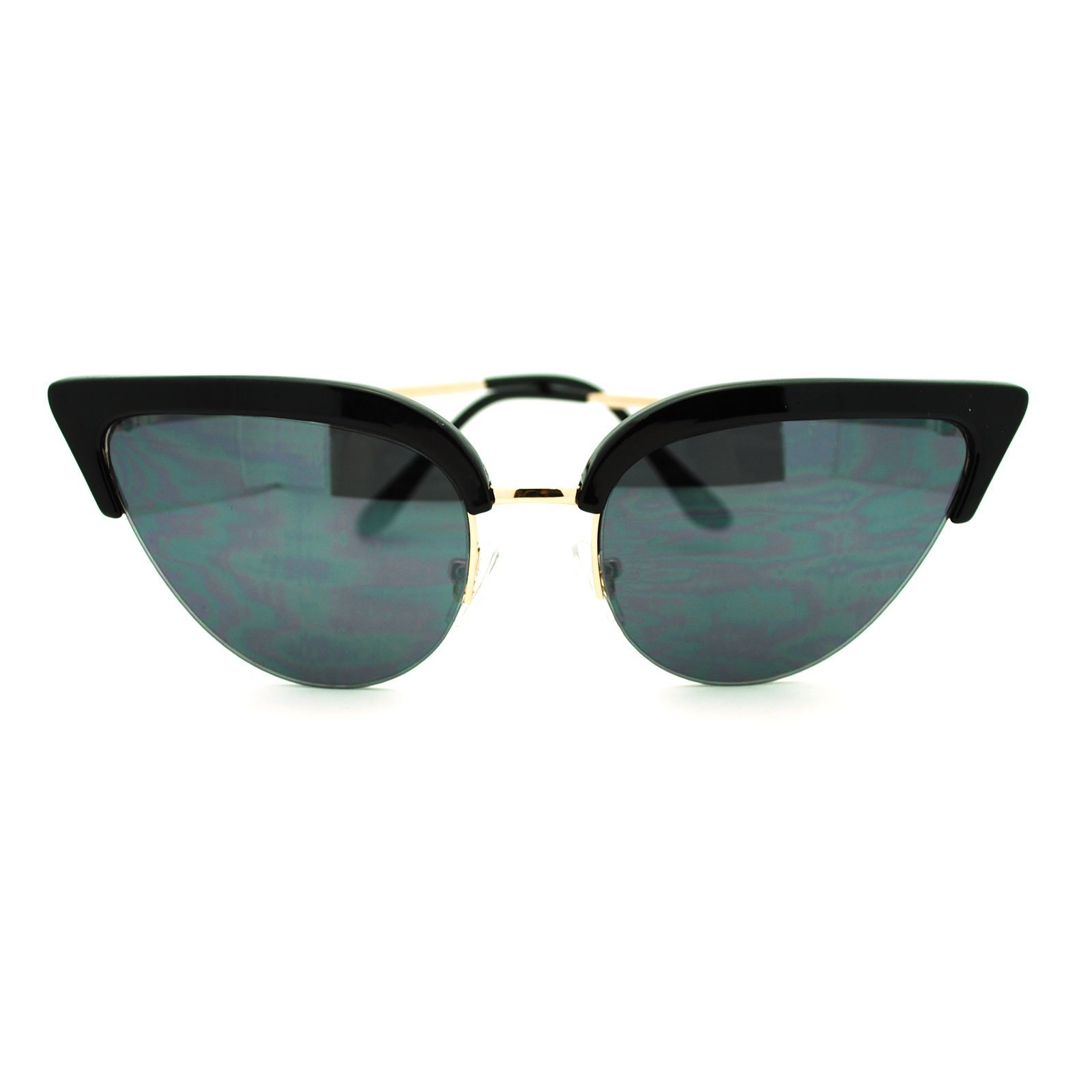 Womens Mod Half Rim Cat Eye 20s Retro Fashion Goth Sunglasses Black Gold