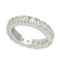 Round 5A Prong Set Cubic Zirconia CZ Eternity Stackable Rhodium Band Rin... - $29.99