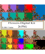Flowers 2 Digital Kit-Art Clip-Gift Tag-Jewelry-T shirt-Notebook-Backgro... - $1.99