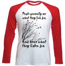 Harper Lee See And Hear Quote - New Red Sleeved Tshirt - $27.19