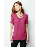 Lands' End Rich Fuchsia Heather Short Sleeve Sweater - Size Petite Extra... - $34.95