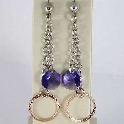 925 STERLING SILVER PENDANT EARRINGS ROSE CIRCLE FACETED PURPLE CRYSTAL OCTAGON