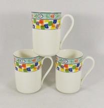 Mikasa Confetti 3 Coffee Cappuccino Mugs -Super Strong Fine China-Color ... - $19.95
