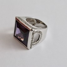 925 Silver Ring Rhodium with with Crystal & Purple Zircon Transparent image 1