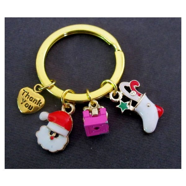 Primary image for Christmas Key Chain,Christmas Charms Gold Keychain,Santa Clause,Christmas Sock,3
