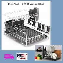 Set Dish Rack Drying Drainer Sink Utensil Glass Holder 304 Stainless Ste... - $65.95