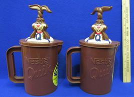 2 Vintage Nestle Quik Bunny Rabbit Mixer Pitcher Mug Brown Makes Chocola... - $20.78
