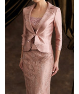 Knee-Length Blush Pink Lace Mother Of the Bride Dress Plus Size Evening ... - $128.99