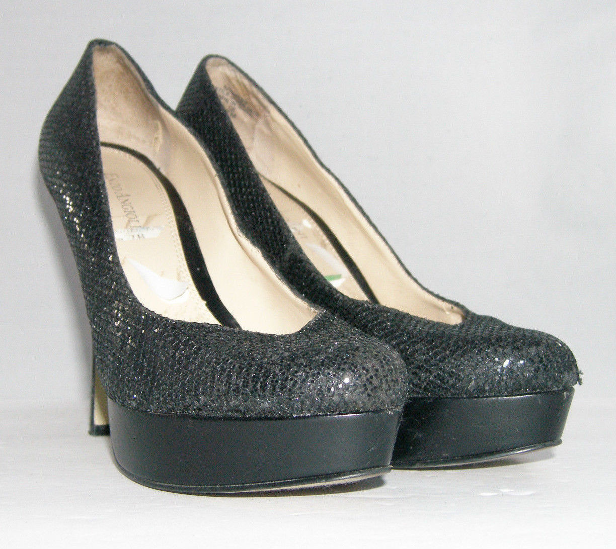 e1288424aa Enzo Angiolini Smiles sparkle black evening pumps heel platform womens  shoes 7M