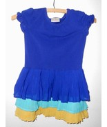 Hanna Andersson Girls Dress 110 Size 5 Blue Pleated 3 Tier Skirt - $16.60