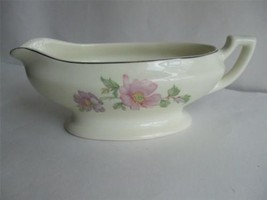 Gravy Boat Pink and Lavender Flowers Cream color Porcelain Silver Rim - $19.75