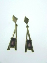 Vintage Faux Amethyst Drop Dangle Earrings Pierced 31461 Purple Lilac Avon  - $17.81