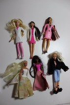 lot 6 mini Barbies bratz dolls long hair dressed, for ornaments doll hou... - $13.81