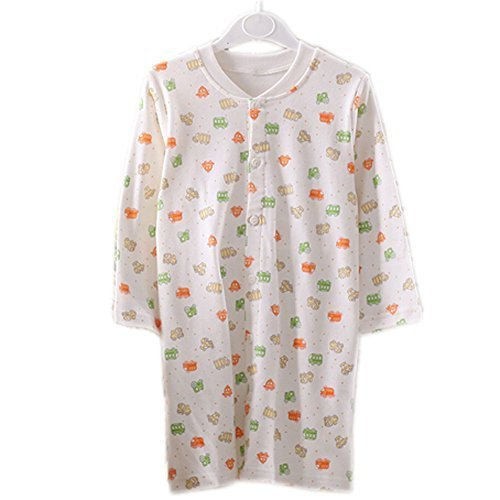 Yellow Print WHITE Infant Sleepwear Baby Toddler Cheese Cloths Nightgown 80-90Cm