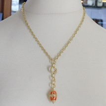 925 STERLING SILVER NECKLACE WITH CARNELIAN FINELY WORKED OVAL PENDANT, ITALY image 2