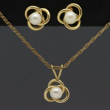 Dainty Vintage Gold-Filled Pearl Love Knot Pendant Necklace & Stud Earri... - $9.99