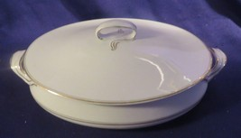 Vintage ALFRED MEAKIN ENGLAND Lidded Casserole Dish Tureen White/Gold Tr... - $35.59