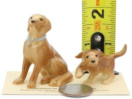Hagen Renaker Dog & Puppy Labrador Retriever Golden Ceramic Figurine Set image 2