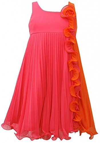 Bonnie Jean Girls Fuchsia Orange Pleated Chiffon Colorblock Babydoll Dress