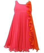 Bonnie Jean Girls Fuchsia Orange Pleated Chiffon Colorblock Babydoll Dress - $44.35