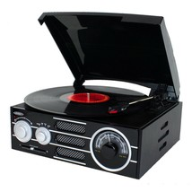 JENSEN JTA-300 3 Speed Record Player USB Turntable w/Speakers AM/FM Ster... - £50.27 GBP