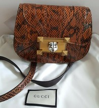 NWT Gucci Osiride small snakeskin enameled Tiger lock shoulder bag ;  - $1,749.99