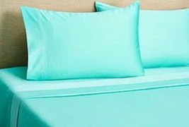 KING SIZE AQUA SOLID BED SHEET SET 800 THREAD COUNT 100% EGYPTIAN COTTON - $58.41