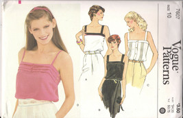 Vogue Pattern 7607 Misses Fitted Hip Length Camisoles Sleeveless Size 10 - $6.92