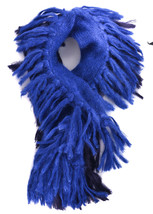 Gucci Navy Blue Wool Silk Blend Marled Knitted Fringed Logo Long Scarf~R... - ₹20,340.84 INR