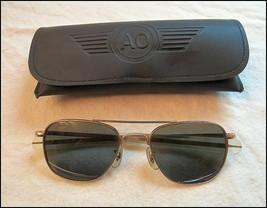 AMERICAN OPTICAL AO AVIATOR SUNGLASSES 52-20 WITH ORIGINAL CASE GREAT CO... - $69.29