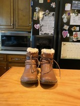UGG Caspia Brown  Leather Sheepskin Lined Boots - $64.99
