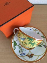 Hermes Porcelain Morning Siesta Cup Saucer Tableware Yellow Ornament New... - £275.69 GBP
