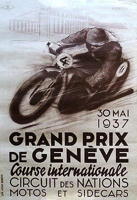 Primary image for 1937 Geneva Grand Prix Motorcycle Race - Promotional Advertising Poster
