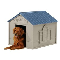 Suncast Indoor & Outdoor Dog House For Medium And Large Breeds, Tan/Blue - $103.97+