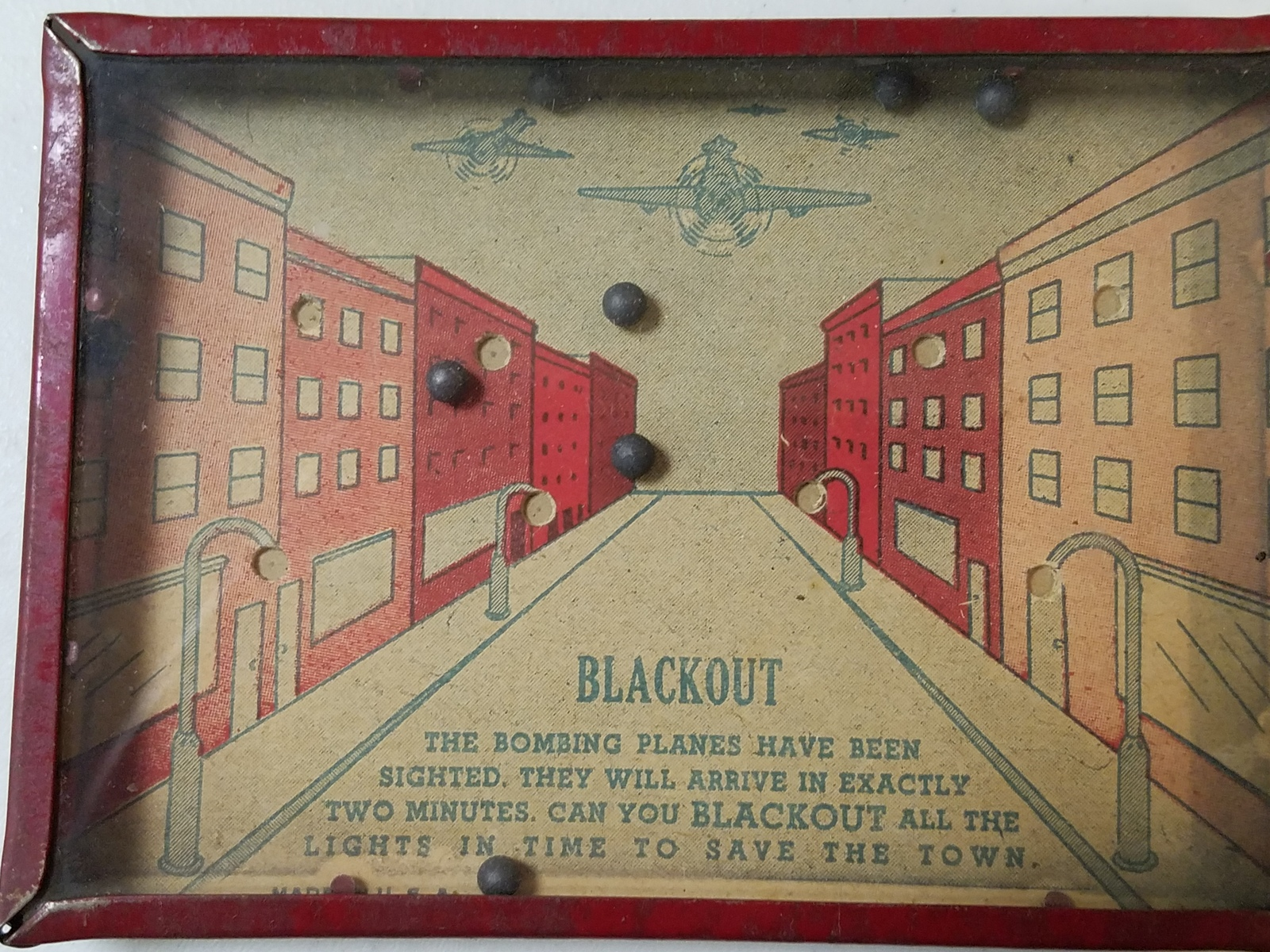 "Vintage WWII ERA ""Blackout"" Dexterity Skill Puzzle Pocket Game Tin and Glass"