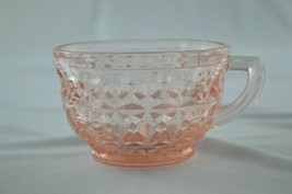 Jeannette Glass Holiday (Button & Bows) Pink Tea Cup 1947-1949   - $6.44
