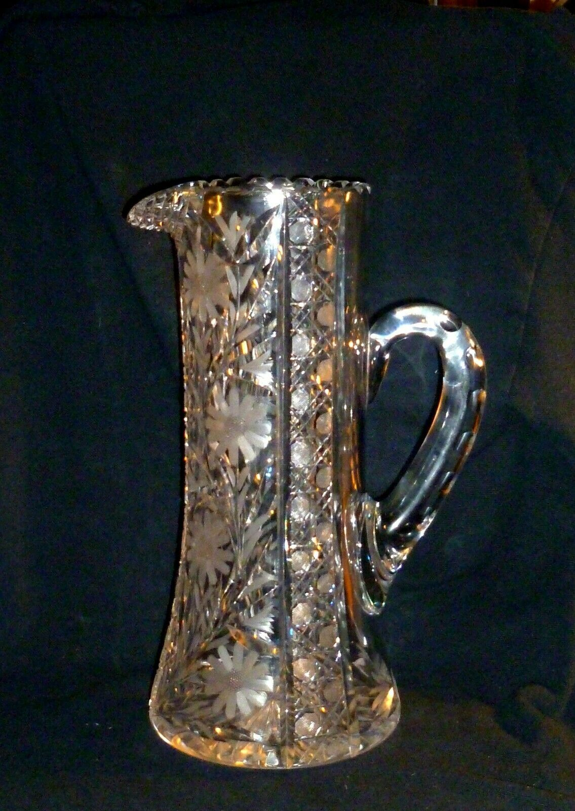 """ABP Tall Cut Glass Daisy Harvard Pattern Tankard / Water Pitcher 12"""" - $118.80"""