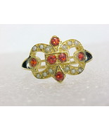 FLEUR DE LIS Garnet and Seed Pearls RING in Yellow Gold on Serling Silve... - $55.00