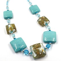 """NECKLACE WITH AZURE MURANO SQUARE GLASS & SILVER LEAF, MADE IN ITALY, 50cm, 20"""" image 2"""